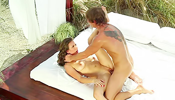 Romantic outdoor bed doggy style fuck scene