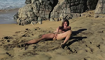 Beach and sand pleasuring moment