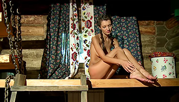 Skinny euro teen poses outside her cabin