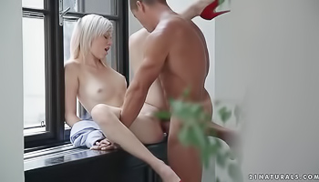 Aroused blonde gets nailed hard