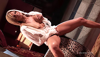 Opulent blonde masturbates in her castle