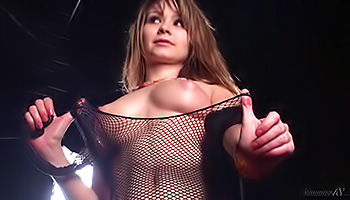 She rips her fishnets for a masturbation
