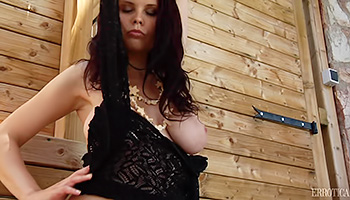Busty brunette hides to masturbate