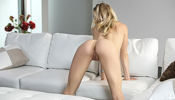 Slim honey stretches her pussy lips wide