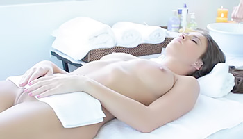 Silky babe fucked on a massage table
